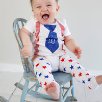 Baby Boys Personalized 4th of July Tie with Suspender Set-Boys Tie Bodysuit with Matching Crawlers-Red White Blue Birthday Set