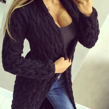 Black Long Sleeve Acrylic Fashion Cardigan Sweater