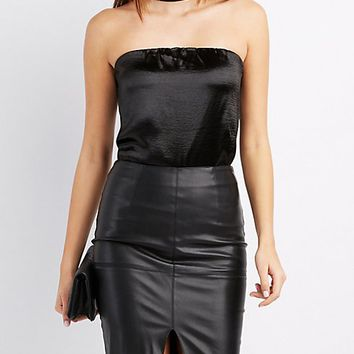 Satin Choker Neck Bodysuit