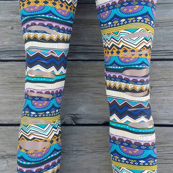 Blue Yellow Tribal Cut Out Leggings One Size Fits Most