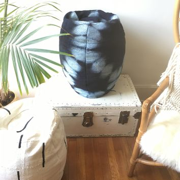 Black & White Tie Dye Mudcloth Pouf / Bean Bag Chair / Ottoman