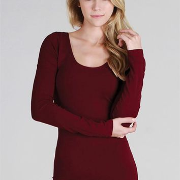 Jersey Thick Long Sleeve Basic - Burgundy