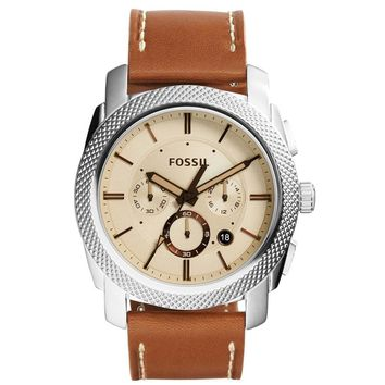 FOSSIL FS5131 MACHINE BEIGE DIAL BROWN LEATHER CHRONOGRAPH MEN'S WATCH