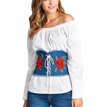 Rose applique Denim Corset Belt ~ 2 colors