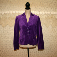 Purple Velvet Blazer Jacket Medium Gypsy Boho Jacket Women Jackets Purple Blazer Purple Jacket Velvet Jacket Boho Clothing Vintage Clothing