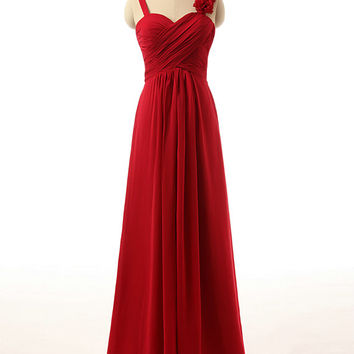 Custom Made Size Color Spaghetti Strap with Handmade Flowers A Line Long Chiffon Red Bridesmaid Dress 2015 Made to Order