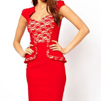 Hybrid Peplum Dress with Lace Insert and Sweetheart Neckline