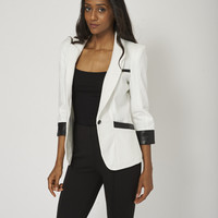 Black And Cream Single Button Blazer