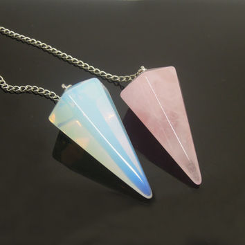 1PC Opalite or Rose Quartz Facet Body Point Pendulum Pendant Healing Crystal Point Pendulum Lover Gift