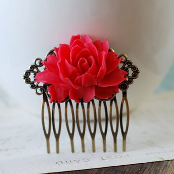Red Wedding Bridal Hair Comb, Large Red Rose Flower Filigree Hair Comb. Bridesmaids Gift, Red Themed Wedding Hair Accessory