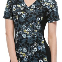 Buy Cherokee Women's Blossom Silhouette V-Neck Knit Panel Top for $21.45