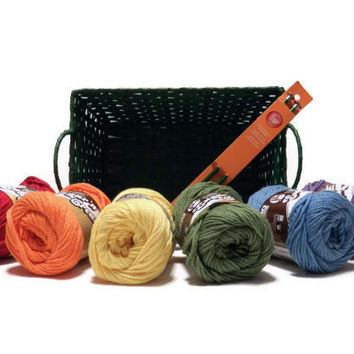 Knitting Starter Kit - Learn to Knit with Six Rainbow Colors of Cotton Yarn, Knitting Needles, and Storage Basket