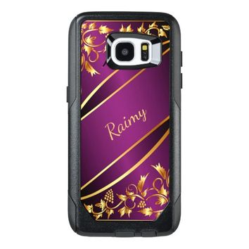 Purple and chic gold colored classic decor name OtterBox samsung galaxy s7 edge case