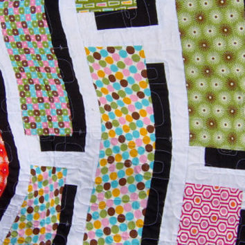 Twin Size Quilt Green Black Orange Pink Black and by KQCreations