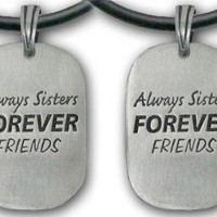 (Set of Two) - Always Sisters Forever Friends Pendant Necklaces. Sister Friendship Jewelry Dog Tag - Sister jewelry gifts:Amazon:Jewelry