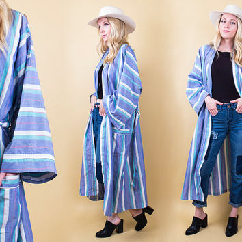 80s striped menswear robe / longline duster jacket wrap coat / house robe Vintage 1980s boyfriend boho hippie grunge draped
