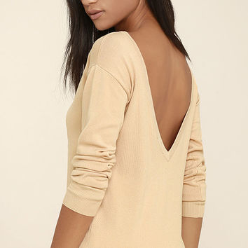 Me Too Beige Backless Sweater Top