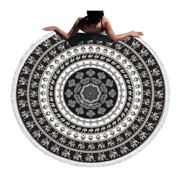 Round Black and White Elephant Print Tapestry (Tassel)