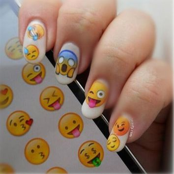 ONETOW NICOLE DIARY Nail Art Water Decals Various Expression Patterns Stickers Water Transfer Nail Art Tattoo 25967