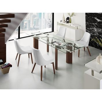 TORINO Collection Walnut Veneer w Tempered Glass  Extendable Dining Table CB-D2048-WAL