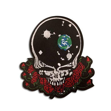 "GRATEFUL DEAD PATCH - Iron On, ""Space Your Face"" Hand Embroidered Patch - Steal Your Face / Skull & Roses - Gift Idea"