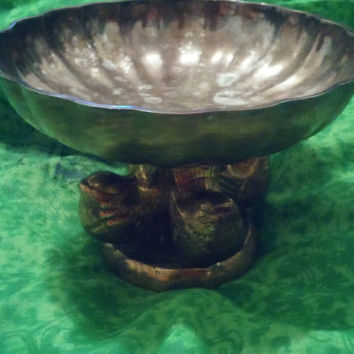 Beautiful Godinger Silver Plated Footed Candy Dish With Tiny Birds on Stems