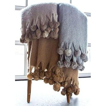 Ben and Jonah Wool Blend Mohair Trim Throw Blanket with Rabbit fur pompoms (Camel)