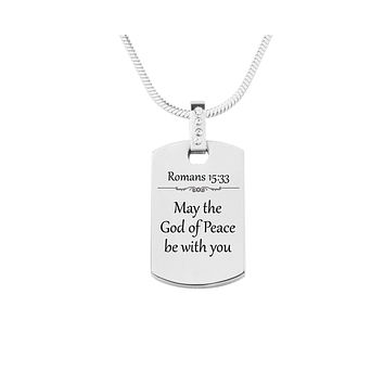 Scripture Tag Necklace with Cubic Zirconia - Romans 15:33