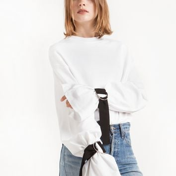 Belt Buckled Sleeve Tie Tee