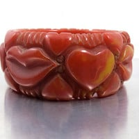 Bakelite Red Hearts Lips Bangle Bracelet, Deeply Carved Tomato Red Spinach Marbled End Of The Day Bracelet, Simichrome Tested