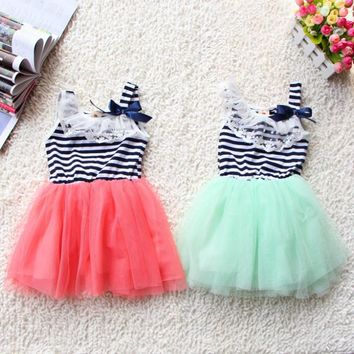 Summer Fashion New Baby Girl Kid Sweet Dress Lace Cotton Material 6 colors