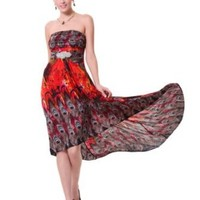 Ever Pretty Strapless Hi-Lo Ruched Bust Diamante Printed Summer Party Dress 06090