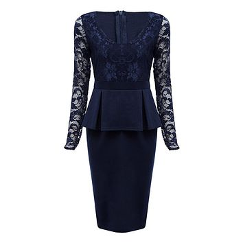 V Neck Long Sleeve See-through Lace Spliced Women Midi Dress