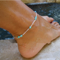 Gift Jewelry Shiny Cute Ladies New Arrival Sexy Fashion Simple Design Stylish Handcrafts Turquoise Anklet [6768751175]