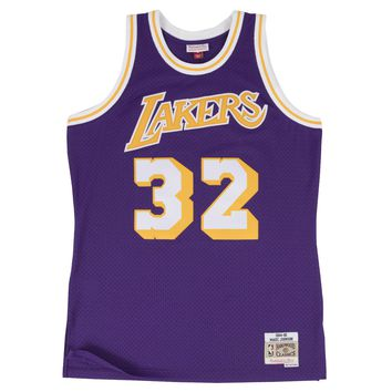 Mitchell & Ness LA Lakers Magic Johnson 1984-85 Swingman Jersey in Purple