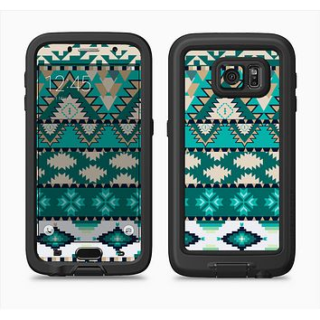 The Vector Teal & Green Aztec Pattern  Full Body Samsung Galaxy S6 LifeProof Fre Case Skin Kit