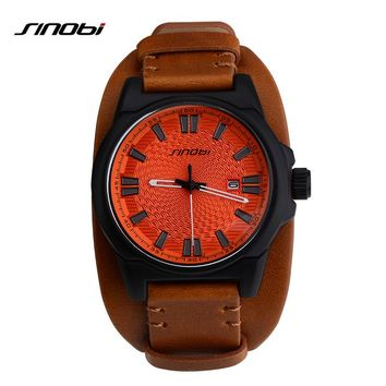 SINOBI Brand Sport Wirstwatch Relogio Masculino Males Leather Watchband Watches Causal Japan Quartz Clock Mens Military WatcheS
