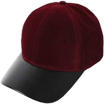 Velvet & Vegan Leather Weekend Baseball Hat - Burgundy