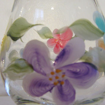 Floral Hand Painted Clear Glass Floral Wine Glasses - Set of 2 - Red, Blue, Purple, and Orange Design