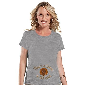 Custom Party Shop Womens Turkey in the Oven Thanksgiving Pregnancy Announcement T-shirt