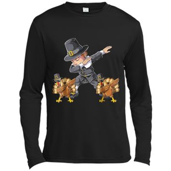 Thanksgiving  for Boys Dabbing Pilgrim Kids Turkey Dab Long Sleeve Moisture Absorbing Shirt
