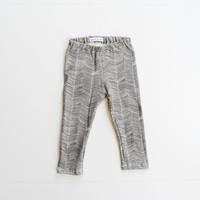 organic baby leggings / toddler leggings / hipster charcoal herringbone leggings