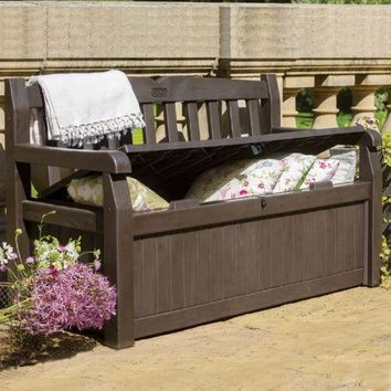 Storage Bench Deck 70 Gal Outdoor Pool Seat Patio Brown Garden Yard Container