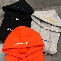 Champion x Ciaopanic co-branded embroidery cursive letter hooded hoodie