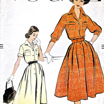Unused Vogue 9397 - One Piece Dress - Shirtwaister - Shirt Dress - Factory Folds - 1950's Vintage Sewing Pattern - Size 18 Bust 38""