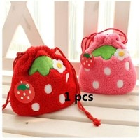 Plush Pink & Red Strawberry Drawstring Storage Bag Cosmetic Makeup Bag Pen Case