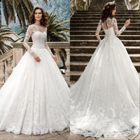 Sheer Tulle Neck Sleeves Sexy Wedding Dress Lace Appliques Ball Gown Long Sleeves Wedding Dresses Bridal Gowns