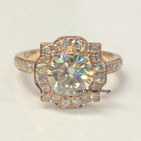 Round Moissanite Engagement Ring Pave Diamond Wedding 14K Rose Gold 7mm Art Deco Vintage
