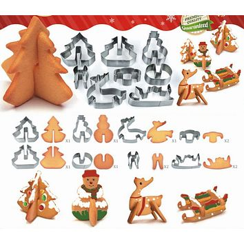 8pcs/ Set 3D Stainless Steel Christmas Elements Cookie Cutters Metal Cookie Mold Fondant Stamp Baking Tools