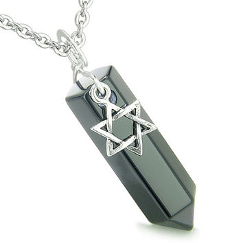 King of Solomon Star of David Crystal Point Magic Charm Black Agate Pendant 22 Inch Necklace